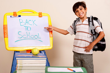 Smiling school boy pointing at white board