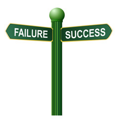 street sign to guide failure or success