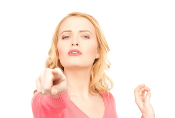 businesswoman pointing her finger