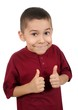 kid giving thumbs-up sign, isolated on white