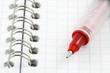 stylo rouge sur carnet à spirale