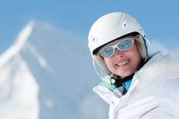 Woman in ski resort