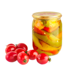 dispersed tomato and glassed pickled vegetables