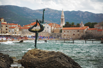 Sculpture of Young woman in Budva, Montenegro