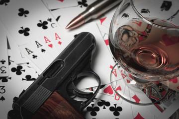 gun cards cognac illustration