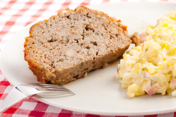 baked meatloaf with potato salad