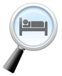 """Magnifying Glass Icon """"Lodging / Hotels"""""""