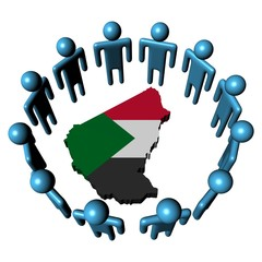 Circle of people around Sudan map flag illustration