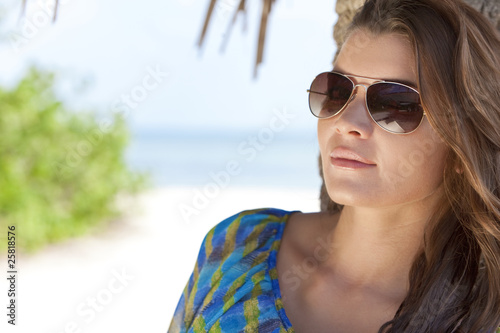 Natural Light Portrait of Beautiful Woman In Aviator Sunglasses