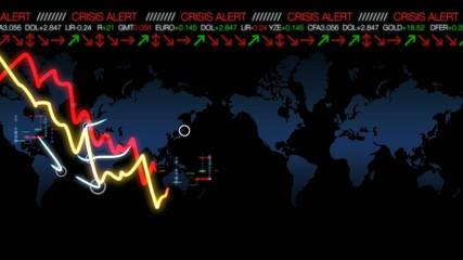 Courbe de crise économique mondiale