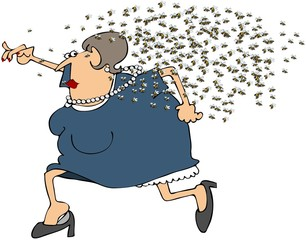 Woman Running From A Swarm Of Bees