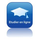 Bouton ETUDIER EN LIGNE (enseignement par correspondance études) poster