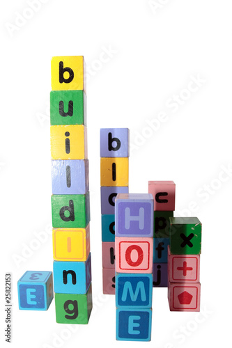home building blocks in letters upright