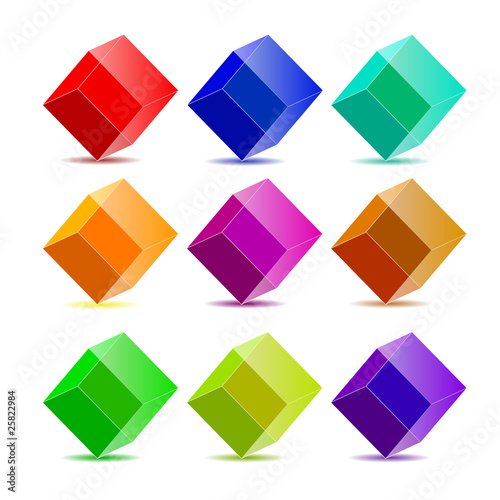 Vector collection colorful cubes