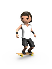 Modern 3D Man Performing on Skateboard