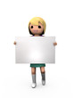 3D Blonde Girl Holding Blank Sign