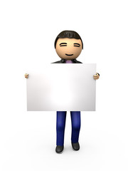 Oriental Asian 3D Guy Holding Blank Sign