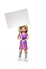 3D Blonde Girl Holding Blank Protest Placard