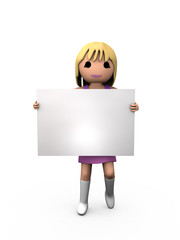 Render of 3D Woman holding Sign