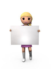 3D Blonde Female Holding Blank Card