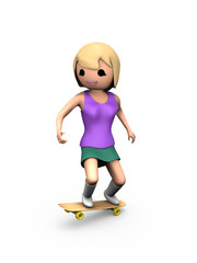 3D Girl Performing Trick on Skateboard