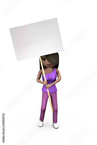 Black or African-American 3D Girl Holding Protest Placard