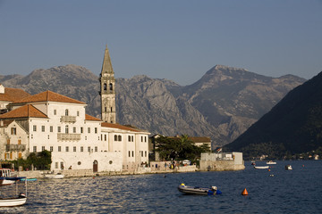 Perast cityscape on sunset.