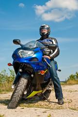 Motorcyclist on sport bike