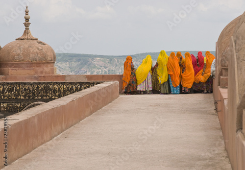 Indian Tourists on the roof of Tiger Fort in Jaipur, India