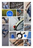 Vélo roller skate transport écolo urbain poster