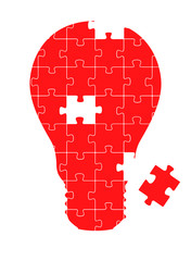 Light bulb puzzle vector background concept