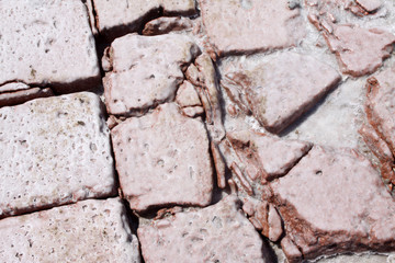 red brick soaked by salt