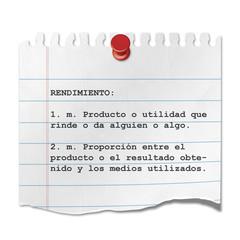 Recorte de papel texto RENDIMIENTO