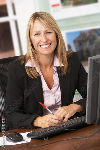 Female Estate Agent Working At Desk