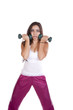 Woman with weights looking stunned