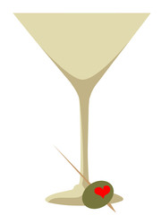 Heart Shaped Pimento Stuffed  Olive  and a Martini