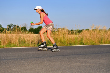 Young Woman Rollerskating