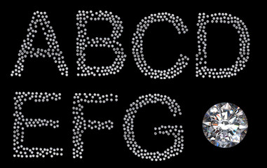 Diamond A-G letters with large gemstone