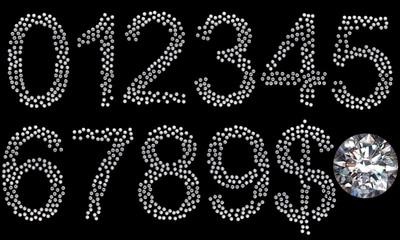 Diamond numerals, dollar symbol and gem