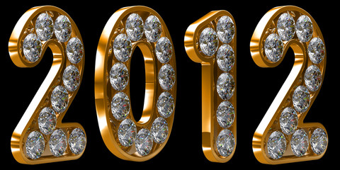 Golden 2012 year incrusted with diamonds
