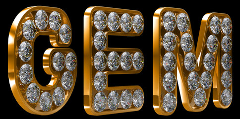 Golden Gem word incrusted with diamonds