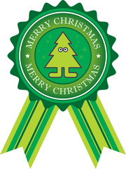 Label with Xmas tree and the text Merry Christmas inside