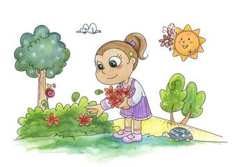 Bambina nel bosco che raccoglie i fiori