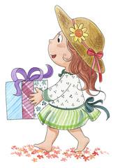 Bambina carina con pacco regalo