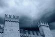 medieval castle under the storm