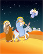 Christmas scene with Holy Family - escape to Egypt