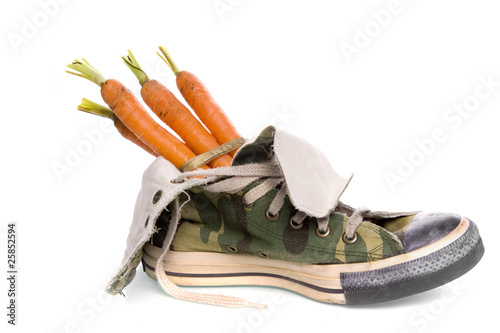 shoe with carrots for Sinterklaas'horse, a dutch tradition