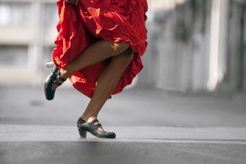 Flamenco Dancer's legs in red dress