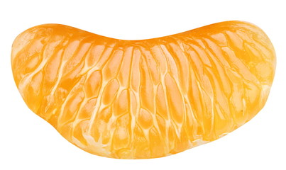 Slice of tangerine on white background
