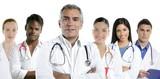 expertise doctor multiracial nurse team row poster